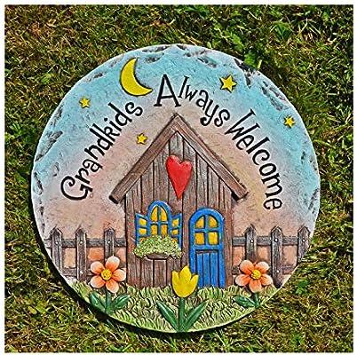 Grandkids siempre bienvenidos Circular de hormigón piedra maravilloso regalo de accesorios de jardín o pared: Amazon.es: Jardín