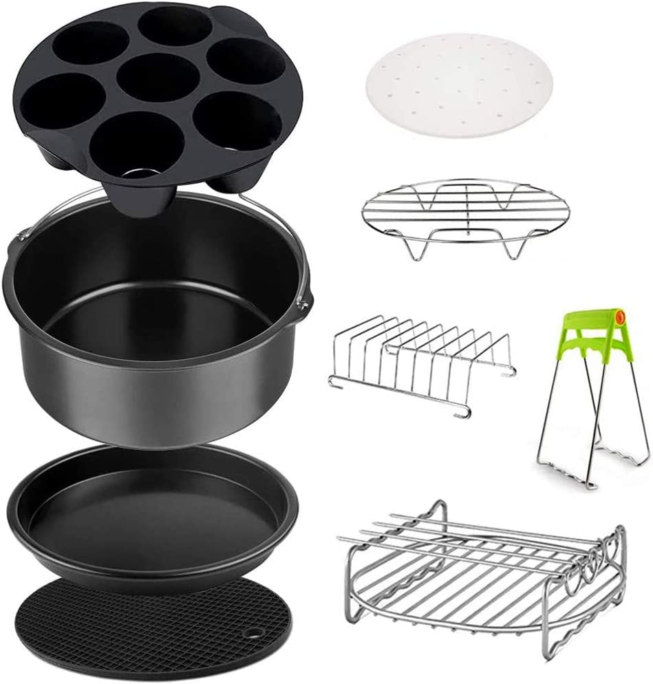 YUI Air Fryer Accessories 3.2QT - 5.8QT for Growise Phillips Cozyna, FDA Compliant, Food Grade Stainless Steel, Including Cake Barrel Baking Dish Pan Grill Pot Pad Pot Rack, etc,6 inch