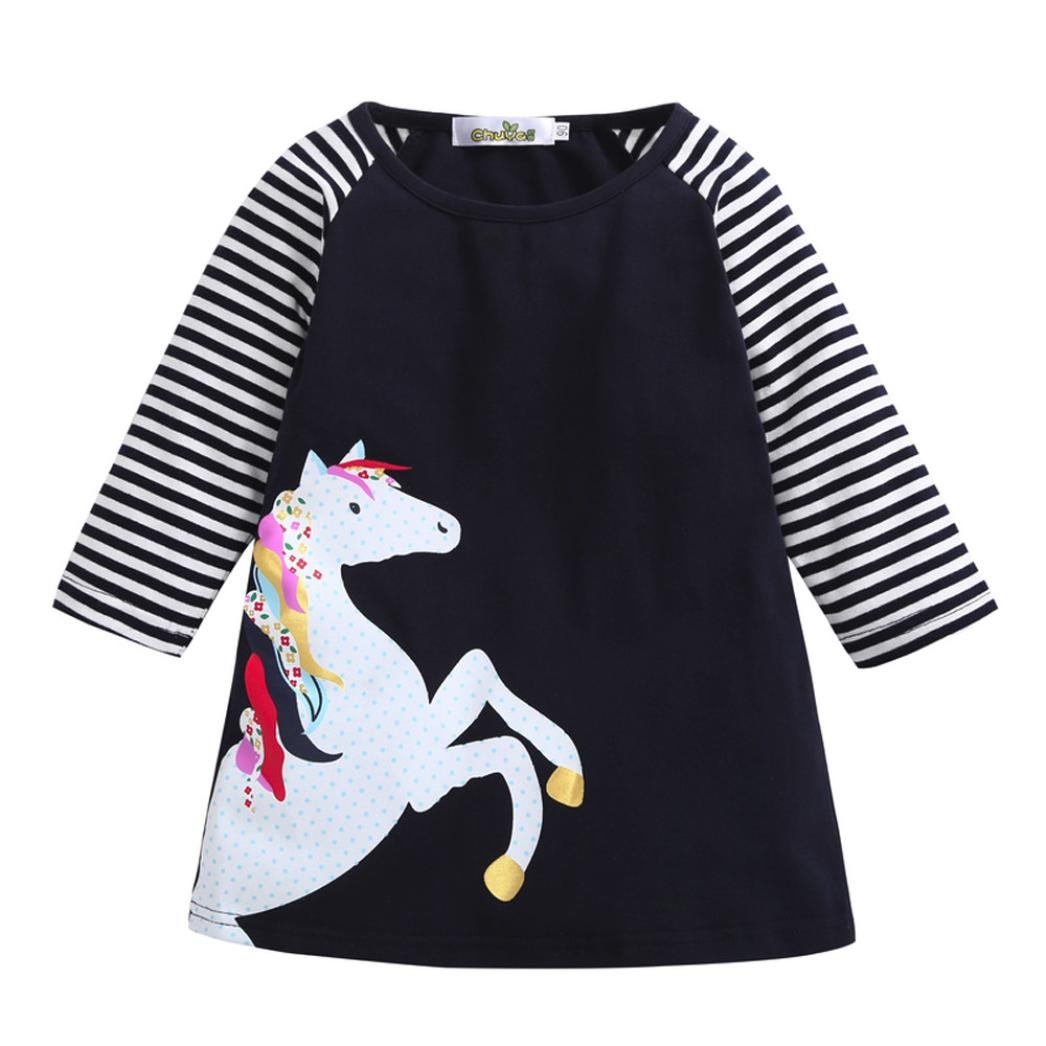 Festwolf Baby Girl Spring Clothes Horse Stripe Print Princess Party Dress Black FTA-20