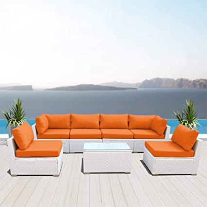 White Outdoor Patio Furniture.Dineli Outdoor Sectional Sofa Patio Furniture White Wicker Conversation Rattan Sofa Set G7 Orange
