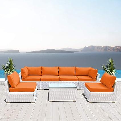 Pleasant Dineli Outdoor Sectional Sofa Patio Furniture White Wicker Conversation Rattan Sofa Set G7 Orange Unemploymentrelief Wooden Chair Designs For Living Room Unemploymentrelieforg