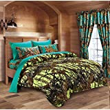20 Lakes Neon Green Lime & Teal Camo Comforter, Sheet, & Pillowcase Set (Queen, Neon Green - Teal)