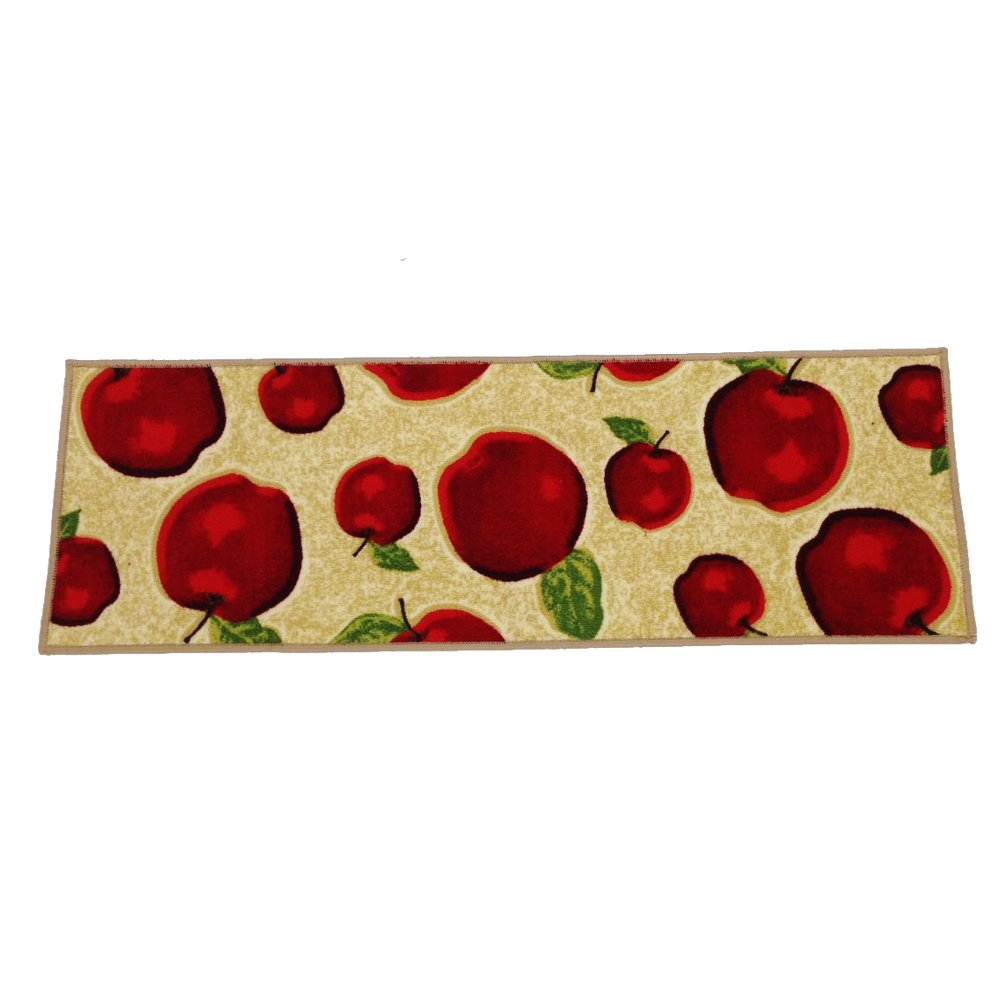 Wolala Home Red Apple Kitchen Rug Mats Latex Back Non-slip Bedside Foot Mat Machine-wash Pets Carpet Thin (1'3x4', Beige)