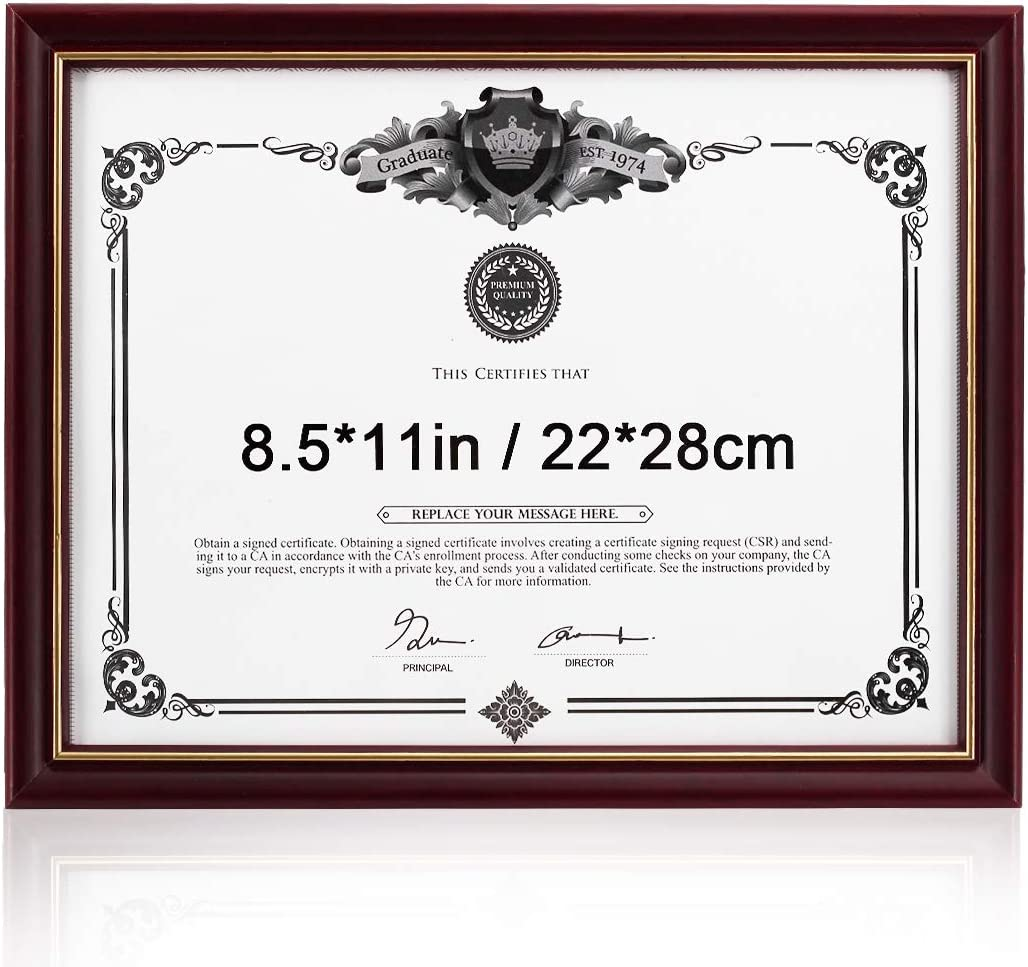 GraduatePro Diploma Picture Frame Wood 8.5x11 Inch Certificate Document Holder Glass Display Classic
