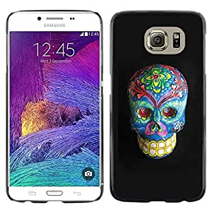 Plastic Shell Protective Case Cover || Samsung Galaxy S6 SM-G920 || Floral Death Skull Grey Blue Bones @XPTECH