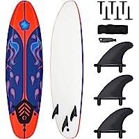 Giantex Surfboard, 6 Ft Stand Up Surfing Board w/ 3 Detachable Fins, Safety Leash, Non-Slip Lightweight Foam Surfboard…