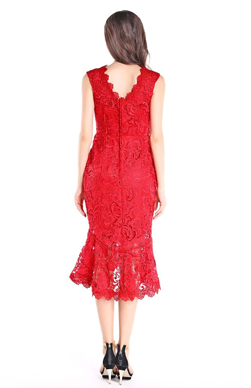 Amazon.com: Hanayome Womens High Neck Mermaid Vintage Red Lace Party Prom Dress: Clothing