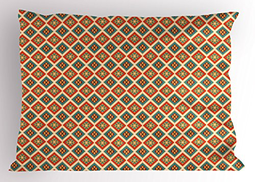 Ambesonne Mexican Pillow Sham, Colorful Ethnic Pattern Retro Colors Checkered Pattern Geometric Indigenous Details, Decorative Standard Queen Size Printed Pillowcase, 30 X 20 inches, Multicolor by Ambesonne