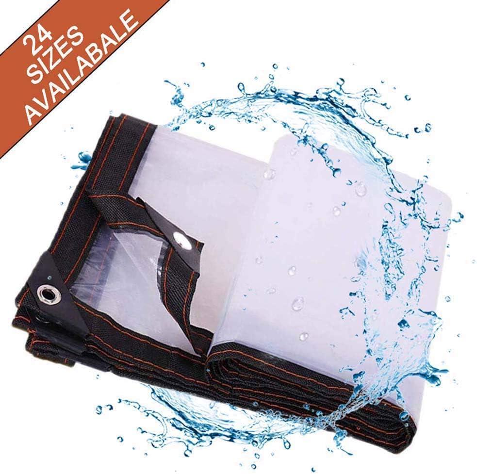 Lona Impermeable Lona De Protección Lona Transparente, Universal Duradera Reforzado Toldo con Ojales Resistente Al Agua Y A Los Rayos UV para De Techado, De Construcción