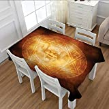 Littletonhome Horror House Patterned Tablecloth Demon Trap Symbol Logo Ceremony Creepy Scary Ritual Fantasy Paranormal Design Dust-proof Oblong Tablecloth Orange 52''x70''