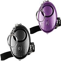 Mini Alarme Personnelle 130db avec Torche LED (2 Pack) Olycism Alarme d'urgence pour Femmes/Rape/Gées/Jogger/Protection D'auto-Défense/des étudiants (Noir+Violet)