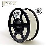 ABSフィラメント、3DヒーローABSフィラメント1.75mm、ABS 3Dプリンターフィラメント、寸法精度+/- 0.02 mm、2.2 LBS(1KG)、1.75mmフィラメント、ホワイト