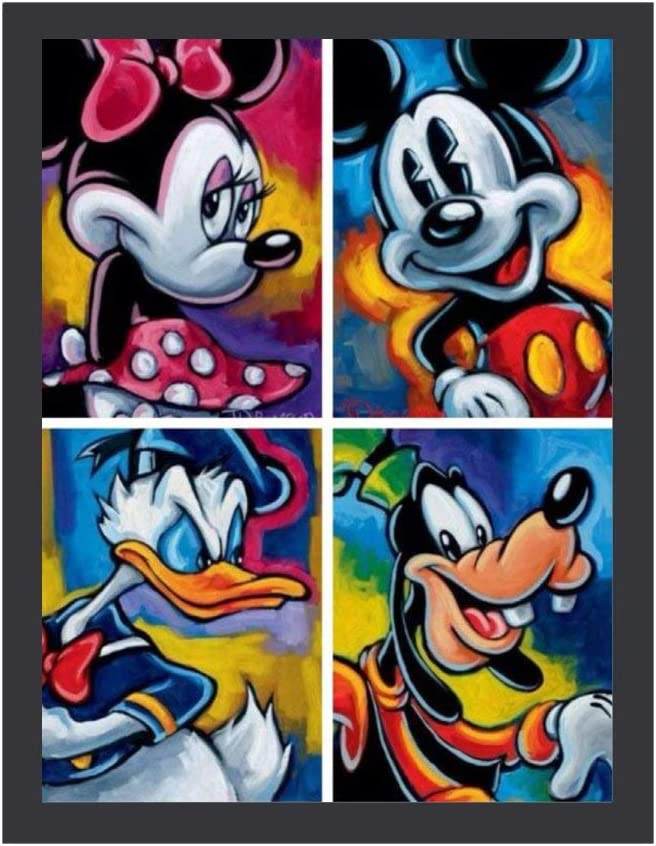 YOKJLDH Mickey Mouse And Donald Duck Painting Poster Wall Artwork Home Office Bedroom Wall Decor Frame 16x12inch