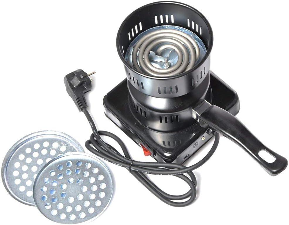 Pgige Quemador eléctrico de Arranque de carbón Hookah Quemador de carbón Shisha BBQ Starter con Bandeja extraíble y Pinzas Desmontables (220V) - Negro