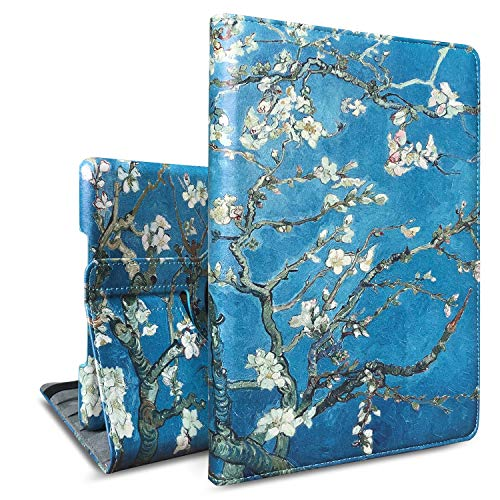 (New iPad 9.7 2018/2017, iPad Air 2, iPad Air Case, J.west PU Leather 360 Degree Rotating Stand Smart Case Cover for Apple iPad 6th/5th Gen, iPad Air 1/2 (Automatic Wake/Sleep) (White Flowers))