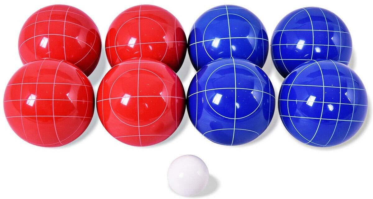 Handybirdy Bocce Ball Set 8 Outdoor Backyard Field Lawn Grass Fun Game Play Italian Bowling Red Blue Pallina/Jack Ball Sport
