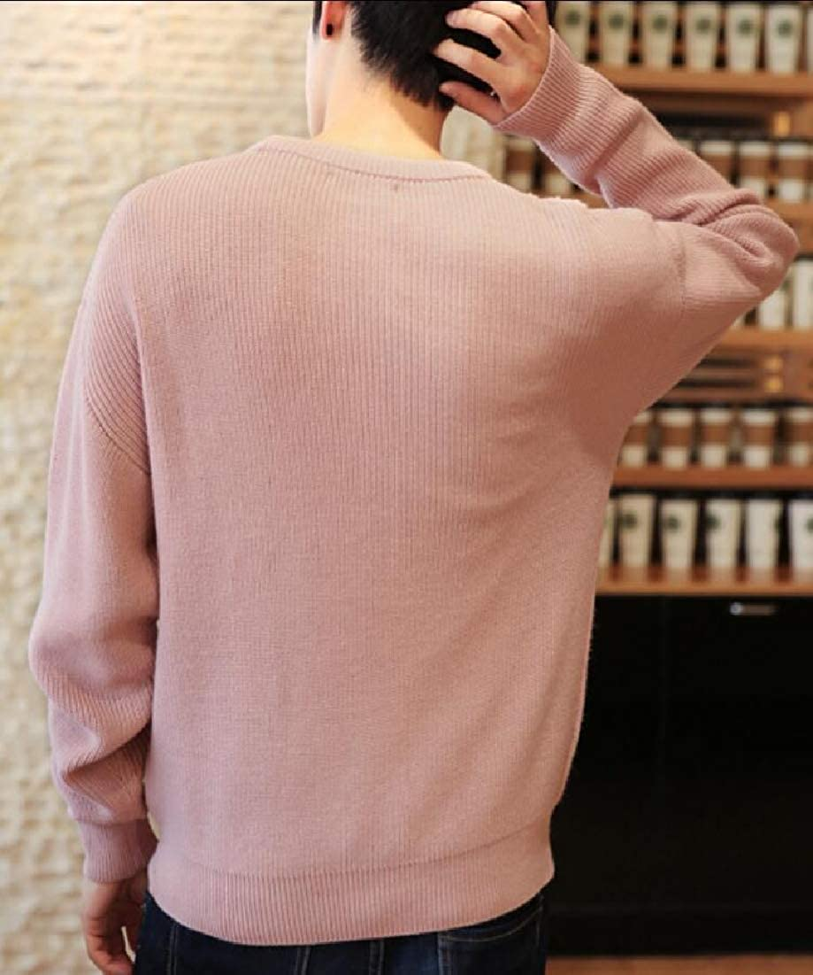 Gocgt Mens Cable Knit Pullover Crew Neck Long Sleeves Sweaters