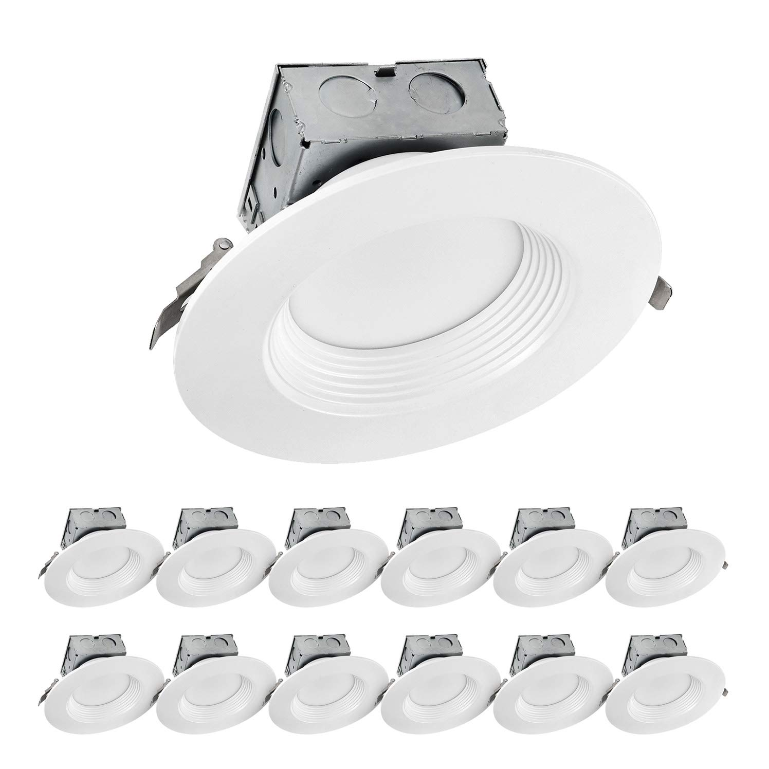 LUXTER (12 Pack) 6 inch LED Ceiling Recessed Downlight With Junction Box, LED Canless Downlight, Baffle Trim, Dimmable, IC Rated, 15W(120Watt Repl) 4000K 1100Lm Wet Location ETL and Energy Star Listed