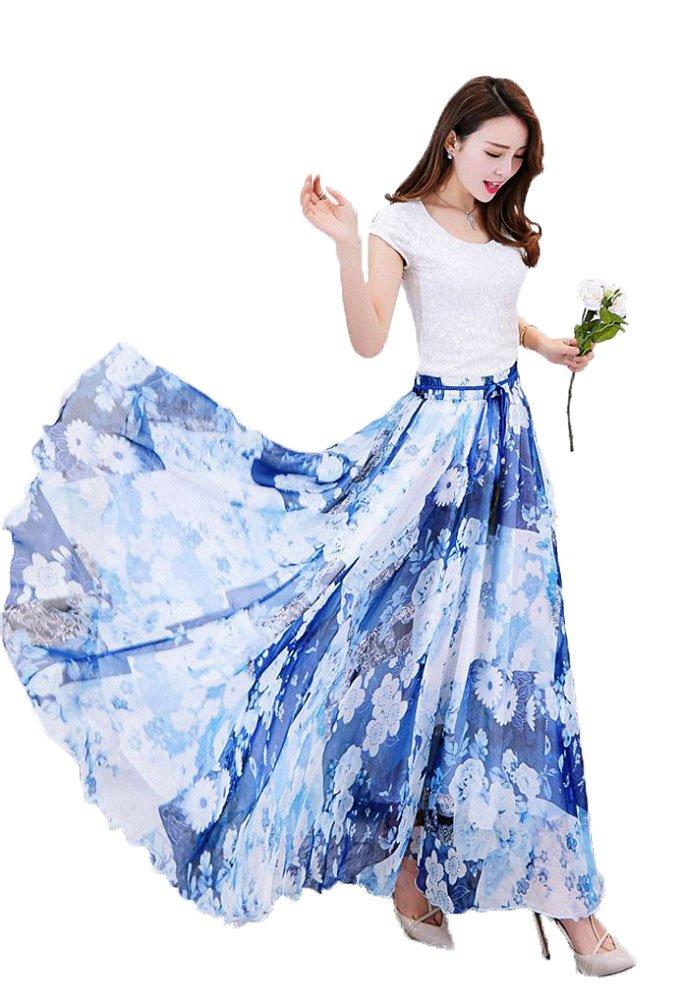 Afibi Womens Blending Chiffon Retro Long Maxi Skirt Vintage Dress (Medium, Pattern 7)