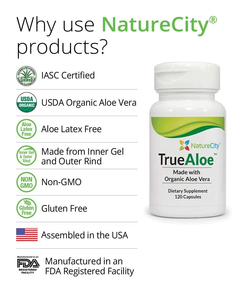TrueAloe 100% Organic Aloe Vera Supplement by NatureCity (Image #2)