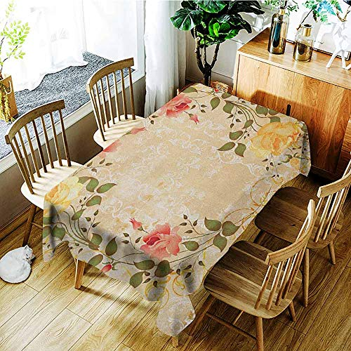 - XXANS Outdoor Tablecloth Rectangular,Vintage,Oval Shape Floral Crown with Leaves and Roses Over Damask Motif Shabby Boho,High-end Durable Creative Home,W60x84L Yellow Green Pink