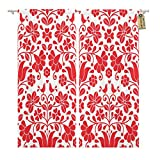 Golee Window Curtain Pattern Kalocsai Red Floral Emrboidery Hungarian Folk Folklore Europe Home Decor Rod Pocket Drapes 2 Panels Curtain 104 x 96 inches For Sale