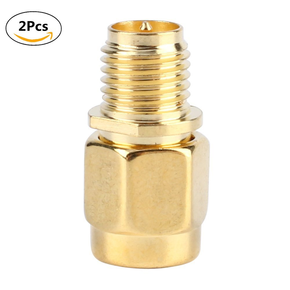 2pcs SMA Male Plug(Pin) to RP-SMA Female(Pin) RF Antenna Coaxial Adapter Connector Gold Plating Yosoo