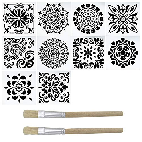 10 Packs Painting Stencil,DanziX Laser Cut Reusable Stencils with 2 Brush for DIY Home Decor,Painting on Wood,Floor,Airbrush,Tiles,Rocks and Walls Fabric Furniture ()