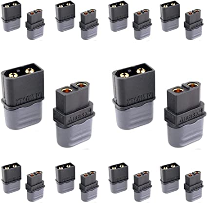 10 Pairs Amass XT60H Plug Connector Black With Sheath Housing Male /& Female