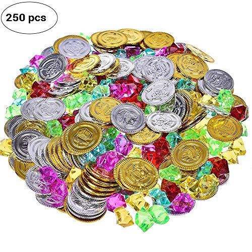 Chest Treasure Pirate Playset - IMEIJU 250pcs Pirate Toys Gold Coins and Pirate Gems Jewelery Playset, Treasure Jewels Games Set Pirate Party (150 Coins+100 Gems)