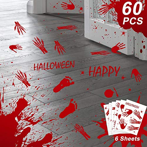 OurWarm 60pcs Halloween Decorations Bloody Handprint Footprint Window Floor Clings, Horror Vampire Zombie Mirror Stickers for Halloween Party Supplies