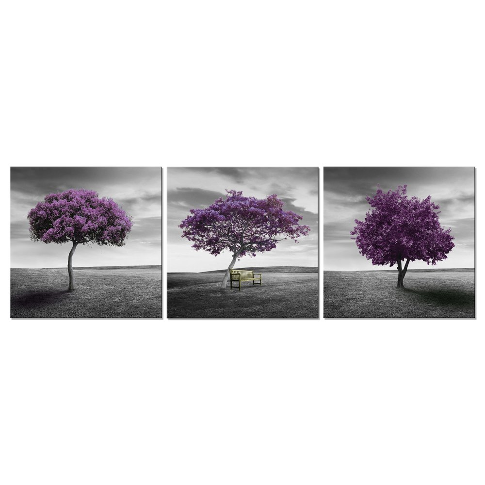 Pyradecor 3 Panels Purple Trees Giclee Canvas Prints Wall Art Paintings for Living Room Bedroom Home Decorations Large Modern Gallery Wrapped Landscape Fall Forest Pictures Artwork Ready to Hang L