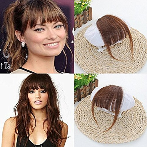 Ugeat 100% Human Hair #6 Medium Brown Front Fringe with Hair Temples Clip in Hair Extensions One Piece Striaght Fringe Hairpiece Accessories