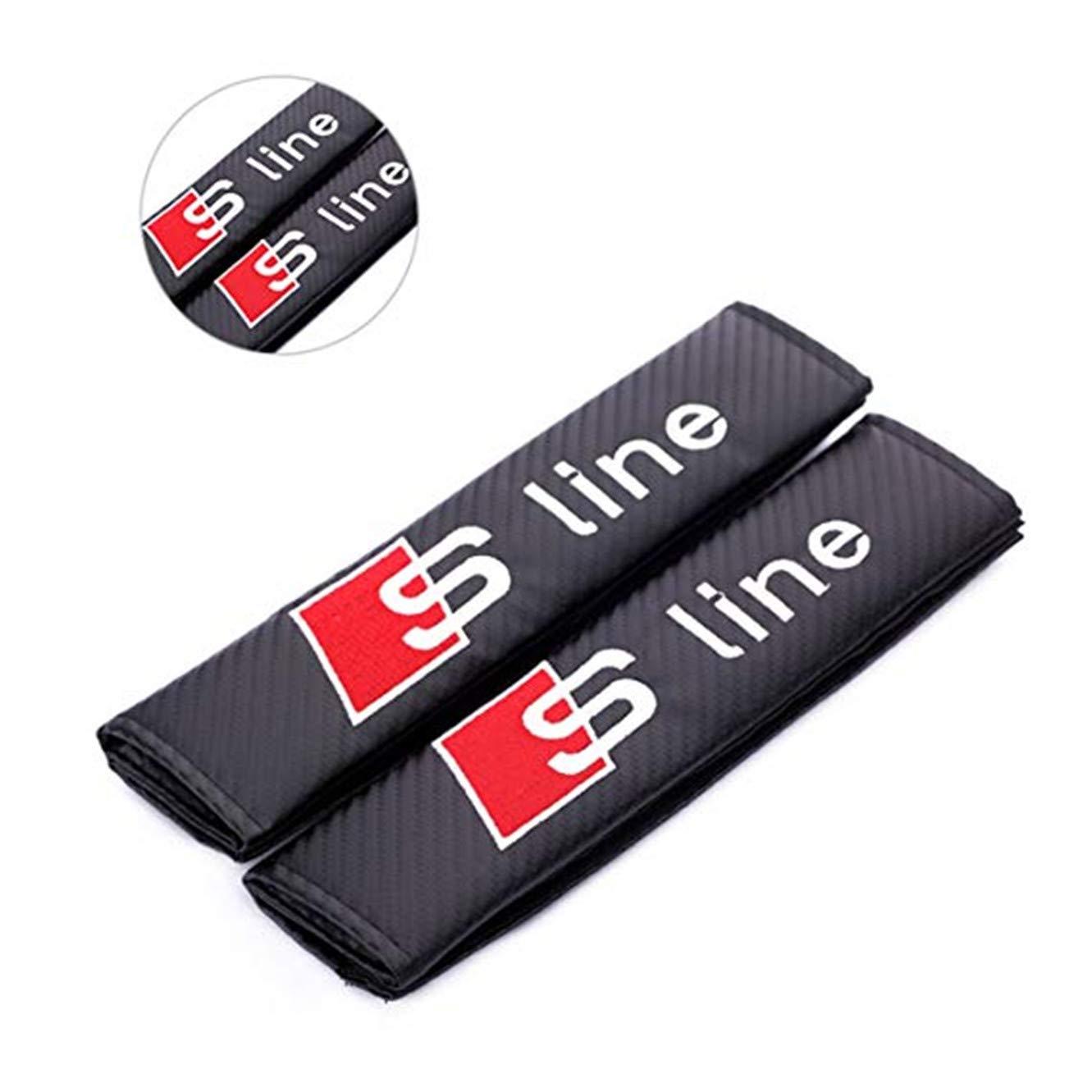 Ricamo Auto Cintura di Sicurezza Pad Cuscino Spalla per S Line fanlinxin 2PCS Carbon Fiber