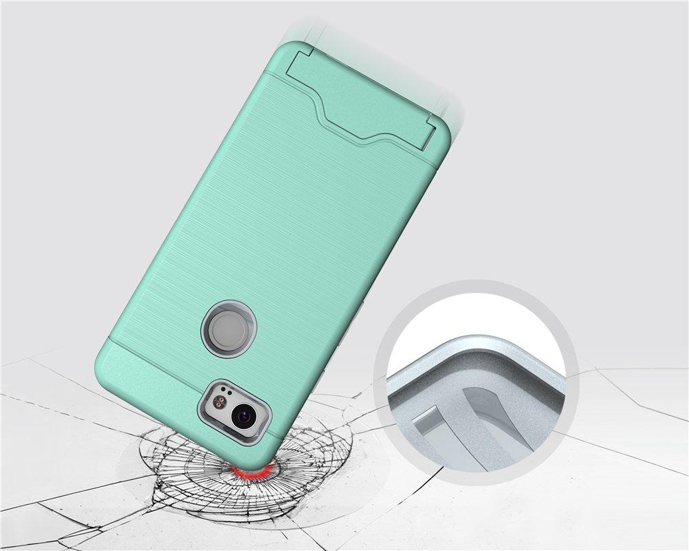 Google Pixel 2 Case, KAMII [Card Slot Holder] Shockproof Slim Fit Dual Layer Hybrid Wallet Case Protective Hard Cover Skin Card Holder with Built-in Kickstand for Google Pixel 2 (2017) (Aqua) by KAMII (Image #4)