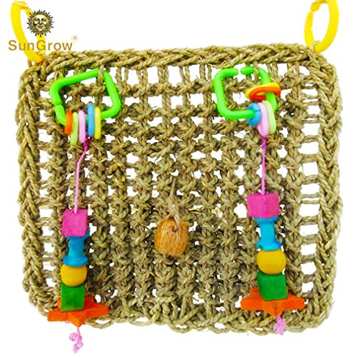 SunGrow Bird Foraging Wall Toy with Hanging Hook, 12.6x13.75 Inches, Edible Seagrass Woven Mat, for Beak Exercise and IQ Simulation of Small and Medium Bird