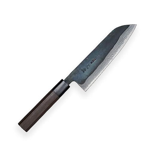 Kiya Suminagashi SXL3-130 Kamagata/Santoku/Cuchillo de Cocina Takefu V Grado 2 acero-11 Capas Damasco Acero-Alto Carbono Acero y Mango de sándalo de 8 ...