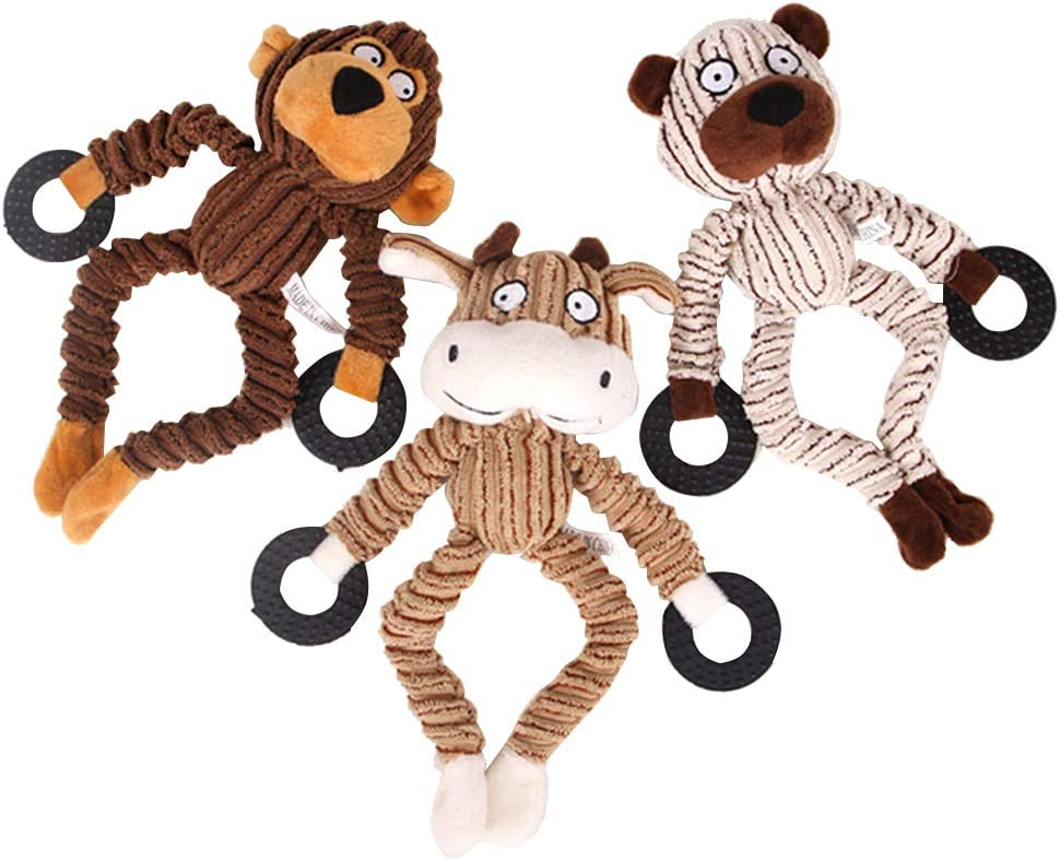 Esoes Perro de Peluche masticable Squeaky Bite Funny Doggy Juguetes de Entrenamiento 3 Pack Juguetes Set Animal Forma para Perros pequeños/medianos/Grandes - Mono, Oso y Toro: Amazon.es: Productos para mascotas