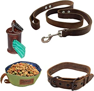 Hide & Drink, Dog Walker (Set of 4) Leather Dog Leash (6 feet), Dog Collar For Medium Size Dog (10 to 19 Inches), Small Food & Water Bowl Poop Bag, Handmade :: Bourbon Brown
