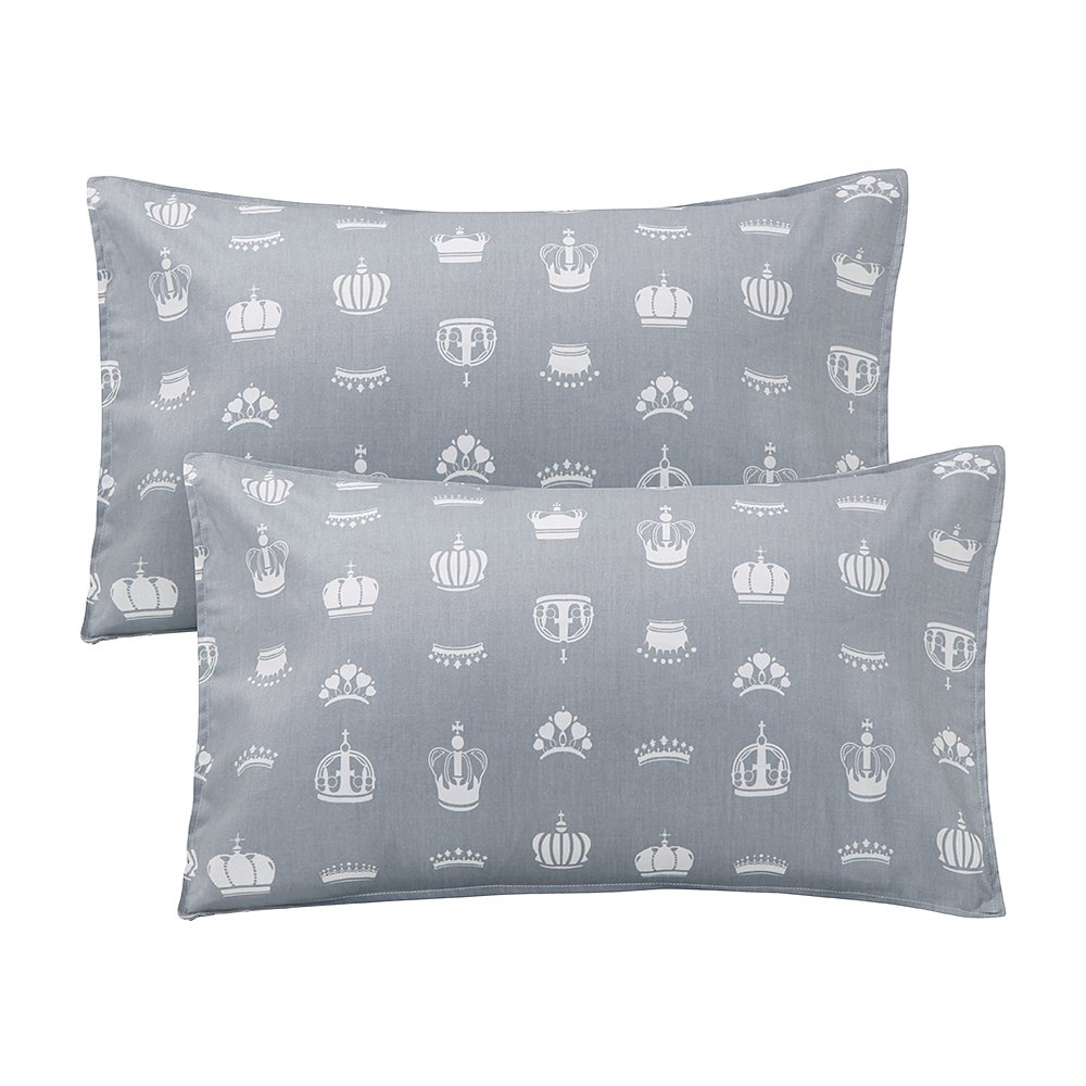 LIFEREVO 100% Cotton Crown Print 2 Pack Toddler Pillowcases Envelope Style Closure for Pillow Size 13x18 and 14x19 (Gray) LRZT1703409