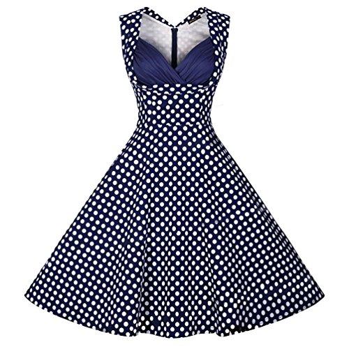 Wenseny Mujer Vintage SWD Sin Mangas Vestido De Lunares Vestido Swing Vestido Plisado Pin Up Vestido De Noche Azul