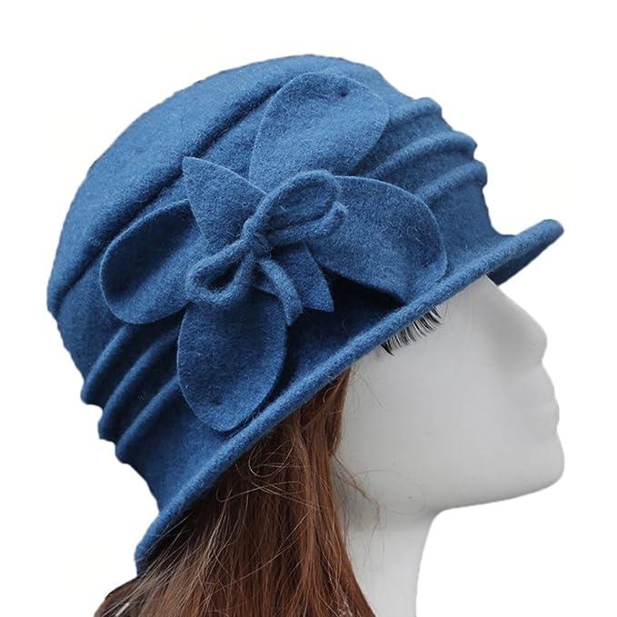 f61e662d0398e Telamee Women Blue Beanie Hat Woolen Billycock Wool Hat Fedoras Cap with  Flowers
