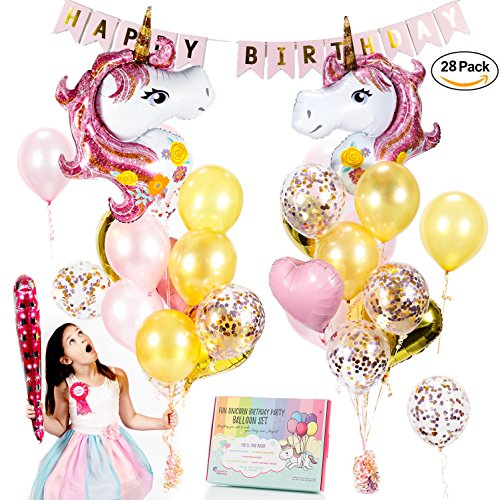Unicorn Balloons Set - Pink & Rose Gold Unicorn Party Supplies with Confetti & Heart balloons for a beautiful birthday bouquet or baby shower. Gorgeous Balloon decorations w/ free Birthday Girl Gift! - Birthday Balloon Set