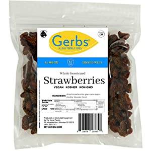 Gerbs Dried Strawberries, 2 LBS - Unsulfured & Sweetened - Top 14 Food Allergy Free & NON GMO – Grown in USA