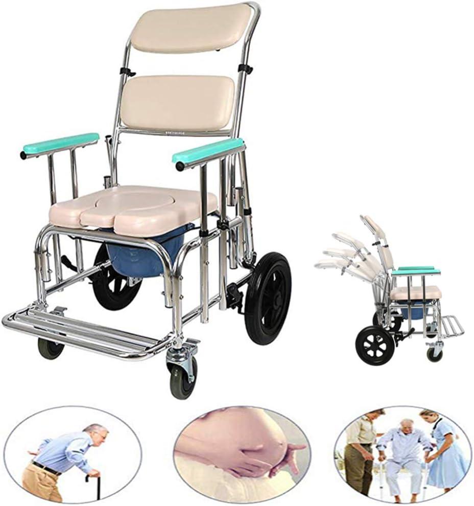 Silla móvil cómoda para Ancianos, Silla de Ruedas médica de Transporte Impermeable, con Ruedas y reposapiés, Respaldo Ajustable, Silla de Ducha