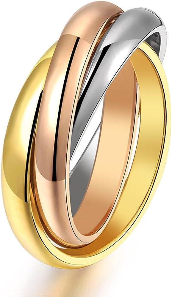 USUASI - Anillo tricolor de acero de titanio con tres anillos