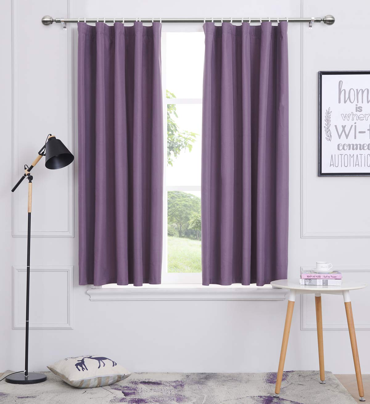 Woven Textured Light Reducing Curtains For Kids Bedroom Thermal Pencil Pleat Curtains 2 panels Berry, 46x54