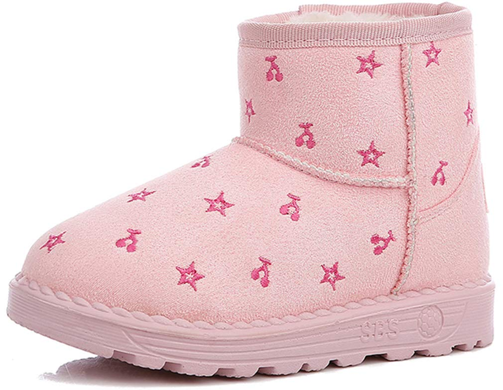 VECJUNIA Girl's Trendy Short Snow Boots Pull On Casual Shoes (Pink, 3 M US Little Kid)
