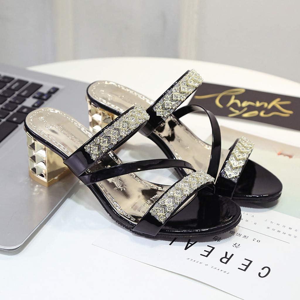 Womens Slippers Sandal Summer,Ladies Open Toe Crystal Square Heel Comfort Bohemia Beach Shoes