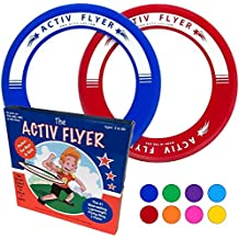 "Best Kid's Frisbee Rings [2 PACK] Fly Straight & Don't Hurt - 80% Lighter Than Standard Frisbees - Replace ""Screen Time"" with Healthy Family Fun - Get Outside & Play! - Made in USA"